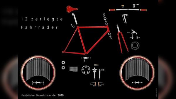 12 zerlegte Fahrräder - eine Kalender-Idee von Jürgen Isendyck.