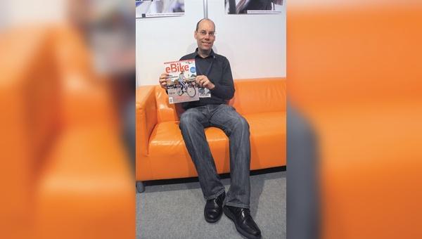 Auf der Eurobike stellte Phil Latz sein neues E-Bike-Magazin erstmals den europäischen Anbietern vor.