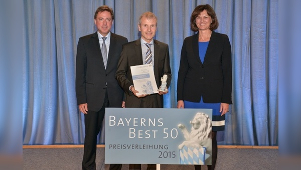 v.l.: Juror Prof. Dr. Thomas Edenhofer Partner,  Benno Messingschlager  und Ilse Aigner