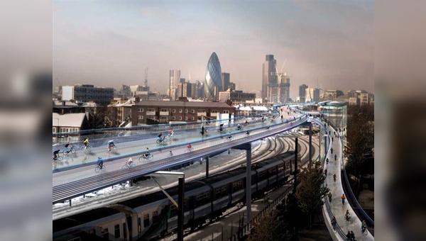 Beim Projekt SkyCycle soll der Radschnellverkehr von der Straße entkoppelt auf bis zu 15 Meter breiten Radweg-Trassen über Schienenstrecken verlaufen.