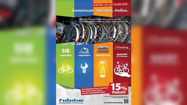 Radhändler unterstützt Flüchtlingshilfe in Kronberg.