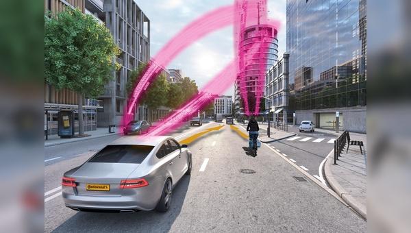 Conti und die Deutsche Telekom kooperieren in Sachen Schutzloesungen fuer Radfahrer.