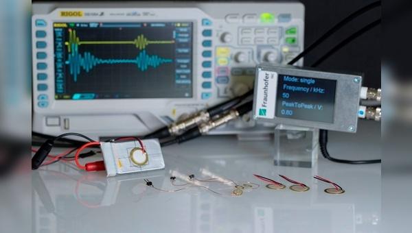 Aufbau für Ladezustandsmessung mit angeschlossener Batteriezelle und Sensoren.