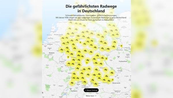 Viele Gefahrenstellen für Radfahrer in Deutschland.