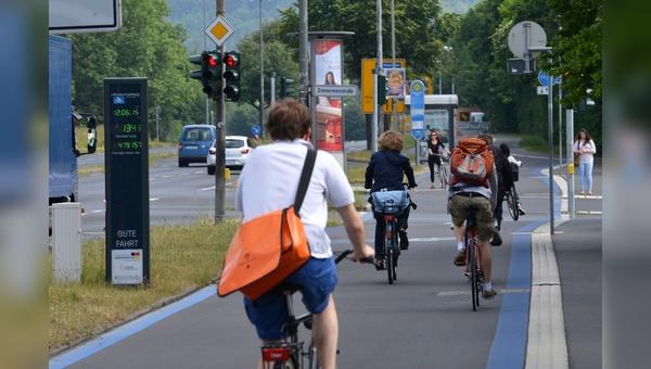Radweg in der Stadt Goettingen.