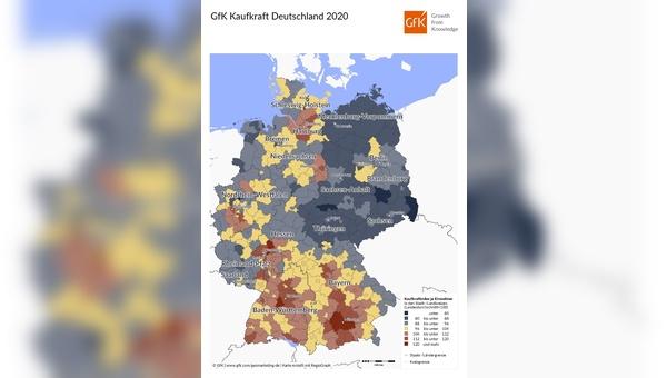 Die Kaufkraft ist in Deutschland regional unterschiedlich