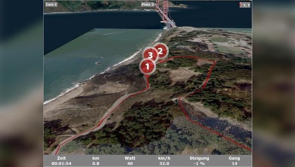 Mit Tour Concept 2.0 lassen sich Radtouren anhand von Satellitenbildern auf dem Ergometer nachfahren.