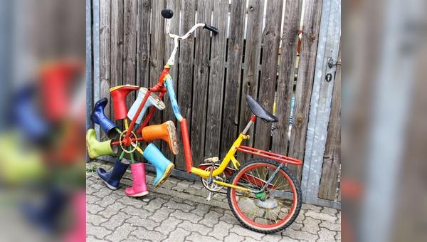 Ob das Gummistiefel-Rad beim Spezi-Erfinderwettbewerb das Rennen macht...