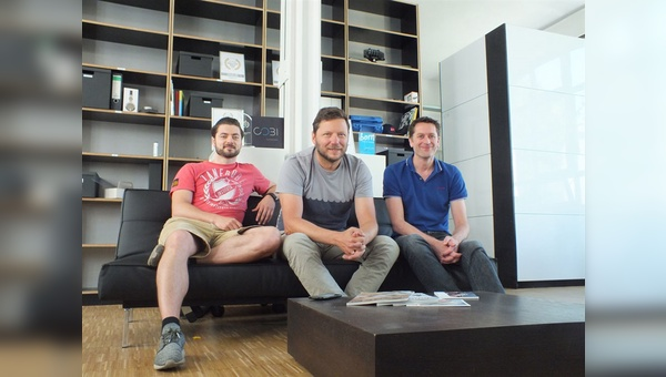 Kreatives Trio: COBI-Gründer Carsten Lindstedt, Andreas Gahlert und Tom Acland (v.l.n.r.)