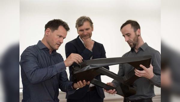 Neue Rahmenkonstruktionen von ID Berlin.  V.r.n.l: Norbert Haller, Johannes Cremer, Hendrik Markowski