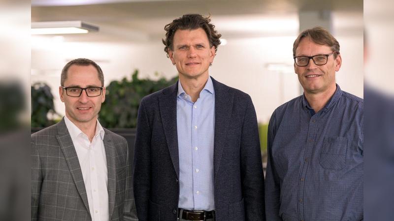 Matthias Schneider (Geschäftsführer MLF Mercator-Leasing GmbH & Co. Finanz-KG), Holger Tumat (Geschäftsführer JobRad GmbH) und Roland Potthast (Geschäftsführer JobRad Leasing GmbH)