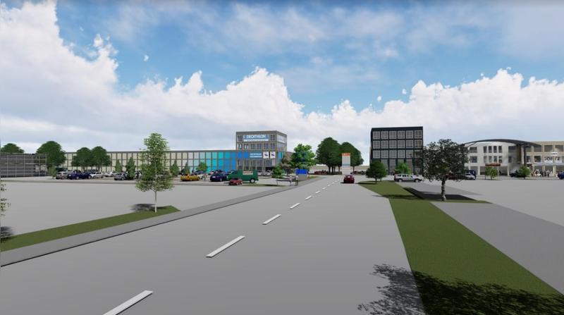 In einem neu gestalteter Fachmarktlage entsteht die neue Filiale von Decathlon in Augsburg.