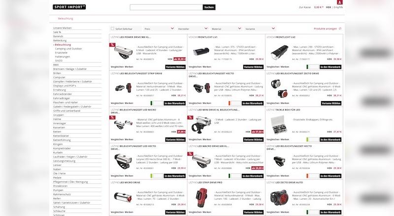 Neue B2B-Shop von Sport Import.