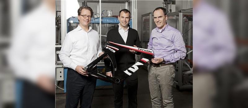 v.l.: Xeno Grimmelt, Senior Vice President Pon Bicycle, Phil White CEO und Mitgründer von Cervélo und Matthias Seidler (Derby)