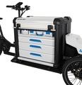 Sortimo bestückt das Lastenrad mit speziellen Aufbauten fuer gewerbliche Nutzer.